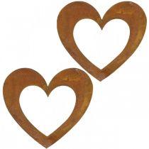 Coeur rouille décoration coeur jardin métal 15cm 6pcs
