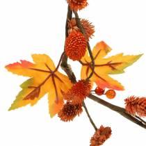 Guirlande d'automne avec feuilles d'érable et cônes orange 1,28 m