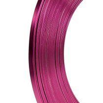Fil en aluminium plat rose fuchsia 5 mm 10 m