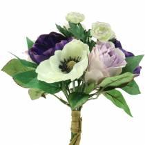 Bouquet de fleurs artificielles lilas violet et cr/ème 41/cm