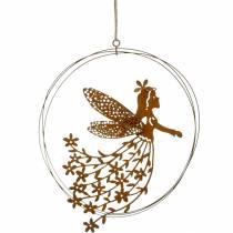 Pendentif fleur elfe, décoration printanière, bague décorative avec fée, patine Ø17cm 3pcs