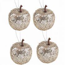 Déco mini décorations de sapin champagne pailleté pomme Ø3,5cm 24pcs