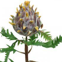 Artichaut déco plante artificielle violette décoration automne Ø7.5cm H42cm