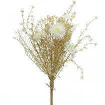 Bouquet artificiel asters et gypsophile beige, blanc 43cm