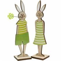 Stand de lapin de Pâques Décoration de Pâques en bois de lapin vert 4pcs