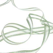 Ruban cadeau vert menthe avec argent 15mm 20m