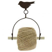 Porte-bande oiseau à suspendre avec jute H19cm