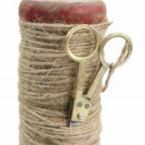 Bobine de fil avec ciseaux décoratifs Ø6,5cm H15cm 2pcs style vintage