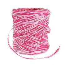 Raphia en ruban cadeau rose-blanc 200 m
