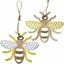 Décoration pour accrocher les abeilles jaune, blanc, décoration d'été en bois doré 6pcs