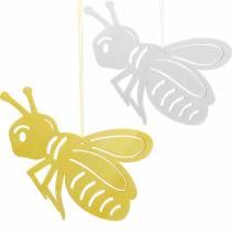 Abeille en bois, décoration de printemps, abeille à accrocher, insecte décoratif 6pcs