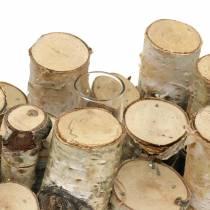 Pot en bouleau avec tubes à essai naturel 32cm