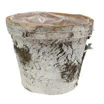 Pot en bouleau avec bord Ø 16 cm H. 13 cm blanc, taille moyenne