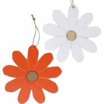Pendentifs de fleurs, fleurs décoratives orange et blanc, décoration en bois, été, fleurs décoratives 8pcs