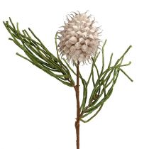Branche de fleurs en mousse en gris/vert 65cm