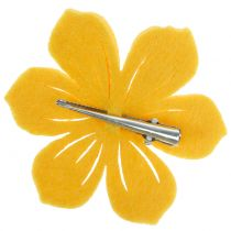 Fleur en feutrine sur clip 7cm 24 p.