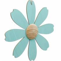 Fleurs en bois à suspendre, décoration printanière, fleur en bois rose et bleu, été, fleurs décoratives 4pcs