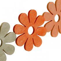 Fleurs à saupoudrer d'orange, d'abricot, de brun à saupoudrer de bois déco 72pcs