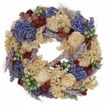 Guirlande décorative d'herbe sèche et de fleurs artificielles lilas Ø20cm
