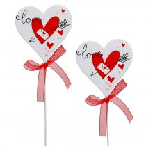 Bouchon fleur coeur blanc avec noeud 7cm 12pcs