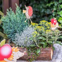 Hérisson épingle fleur, décoration bois, figurine automne H9.5cm L32cm 12pcs