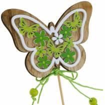 Bouchon de fleur papillon bois décoration de ressort sur tige 12pcs