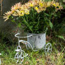Pot de fleur vélo métal vintage blanchi à la chaux 24×13×14cm