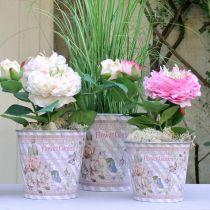 Pot de fleurs en métal roses décoration d'été jardinière Ø15cm H15.5cm