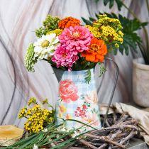 Vase à fleurs déco cruche métal vintage décoration jardin jardinière H23cm