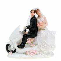 Figurine de couple nuptial sur moto 12cm