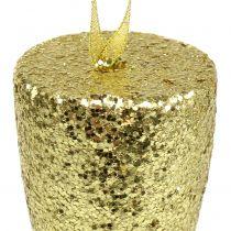Verre à champagne cintre doré clair paillettes 15cm Nouvel An et Noël