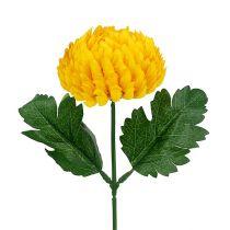 Chrysanthème jaune artificiel Ø7cm L18cm