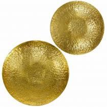 Bol décoratif doré en métal Ø35 / 46cm, lot de 2