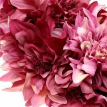 Couronne de fleurs de dahlia ancienne rose, mauve Ø42cm