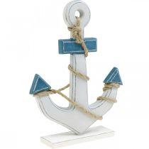 Déco ancre bois à poser décoration de table bleu maritime, blanc H24cm