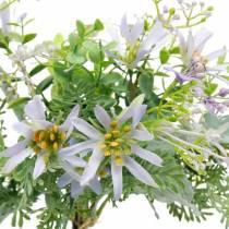 Bouquet décoratif, fleurs en soie violette, décorations printanières, asters artificiels, œillets et eucalyptus