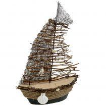 Bateau décoratif avec brindilles et coquillages 38 cm