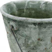 Seau à plantes, décoration de jardin, seau en céramique, jardinière optique antique Ø16cm H13,5cm