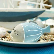 Poisson décoratif avec verres bleu blanc 15,5 / 14,5cm 2pcs