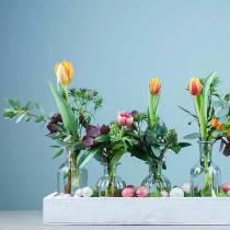 Vase fleur décoratif bouteille Ø7.5cm H13.5cm clair 6pcs