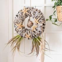 Couronne décorative lianewood blanc lavé Ø30cm