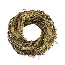Couronne en osier naturelle avec herbe Ø 25 cm