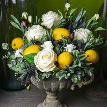Fleurs décoratives roses en soie dans un bouquet crème 36cm 8pcs