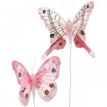 Papillons décoratifs papillon plume rose sur fil 7,5cm 6pcs