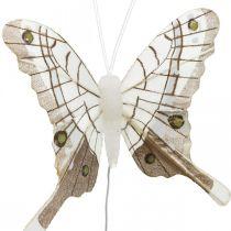 Papillons décoratifs blanc, plume marron papillon sur fil 7,5cm 6pcs