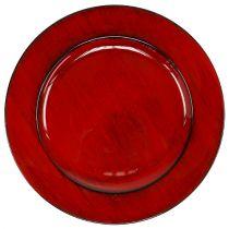 Assiette décorative plastique Ø28cm rouge-noir