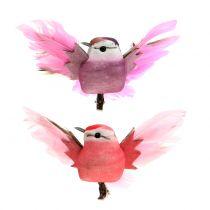 Oiseaux décoratifs sur clip rose/mauve 9 cm 8 p.