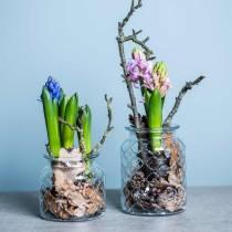 Vase en verre motif diamant, lanterne, pot en verre décoratif, décoration de table 2 pièces