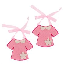 Déco de naissance robe en feutrine rose 7 cm 20 p.