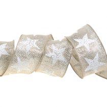 Ruban de Noël avec motif étoiles nature, argent 40mm 15m